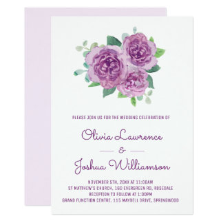Purple Roses Watercolor Wedding Invitations