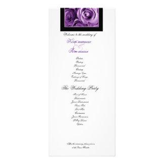 PURPLE ROSES Wedding Program Announcement Custom Rack Card