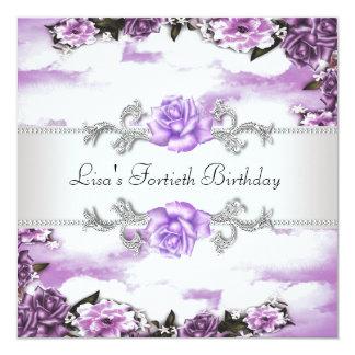 Purple Roses Womans 40th Birthday Party 13 Cm X 13 Cm Square Invitation Card