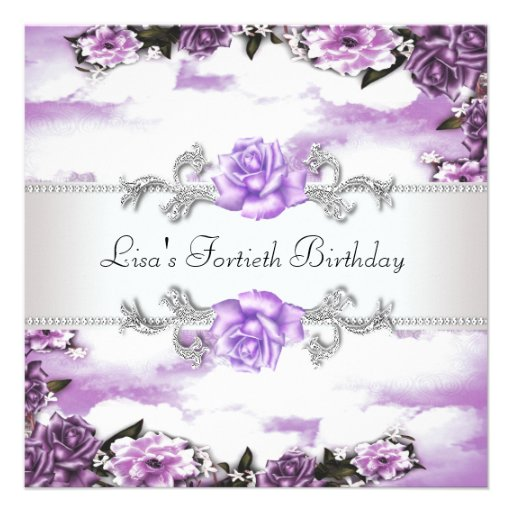 Purple Roses Womans 40th Birthday Party Personalized Announcements
