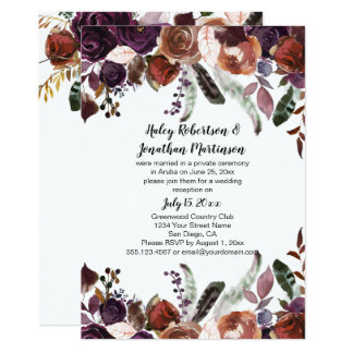Purple Rust Boho Watercolor Roses Reception Only Card