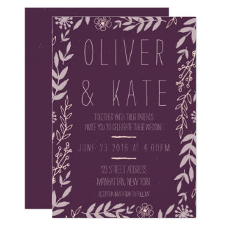Purple Rustic Floral Wedding Invitation