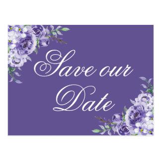 Purple Save the Date   Brushstrokes Ultra-Violet Postcard