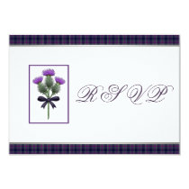 Purple Scottish Tartan Plaid and Thistle RSVP 9 Cm X 13 Cm Invitation Card