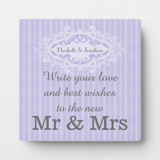 Purple Scrolls and Ribbons Wedding Guestbook Sign Plaque