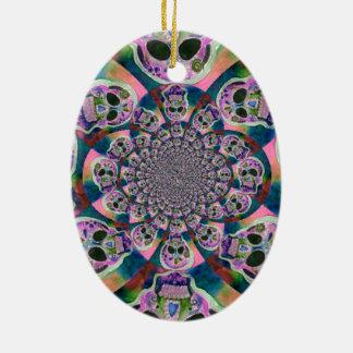 Purple Scull Swirl Design Christmas Ornament