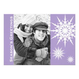 Purple Season's Greetings Snow Holiday Flat Card