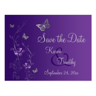 Purple, Silver Butterflies Save the Date Postcard