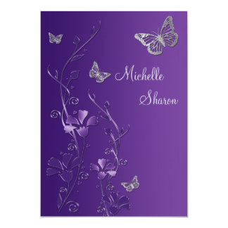 Purple Silver Floral with Buttterflies Bat Mitzvah 13 Cm X 18 Cm Invitation Card