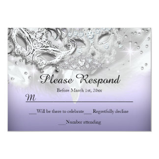 Purple & Silver Sparkle Masquerade RSVP Reply Personalized Invite