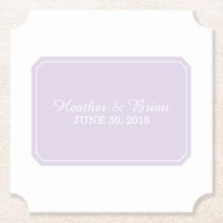 Purple Simply Elegant Wedding Paper Coaster