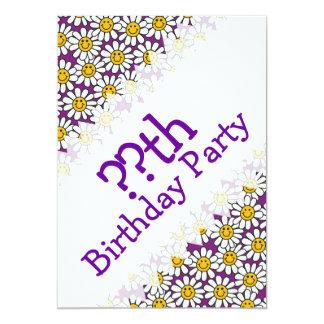 "Purple Smiley Daisy Flower Pattern 5"" X 7"" Invitation Card"