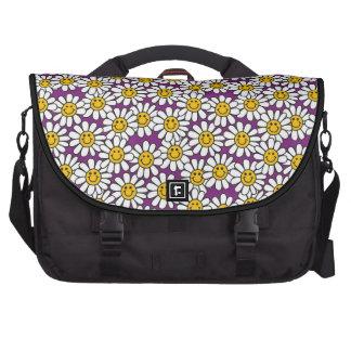 Purple Smiley Daisy Flower Pattern Laptop Bags