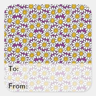 Purple Smiley Daisy Flower Pattern Square Sticker