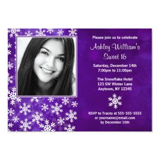 Purple Snowflakes Photo Sweet 16 Invitations