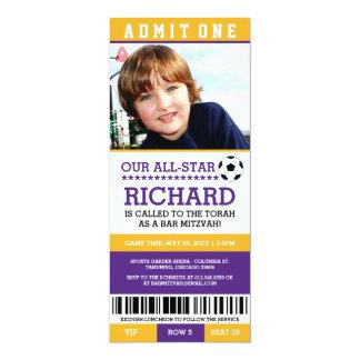 Purple Soccer Bar Mitzvah Invites