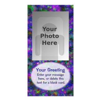 Purple Spatter Dot Vertical PhotoCard Template Personalised Photo Card