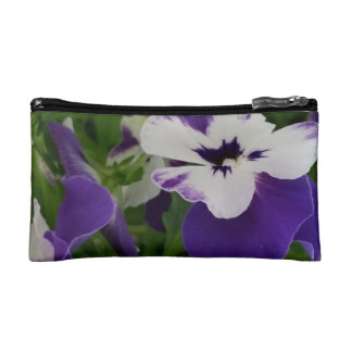 Purple Speckled Blossom Themed Cosmetic Bag