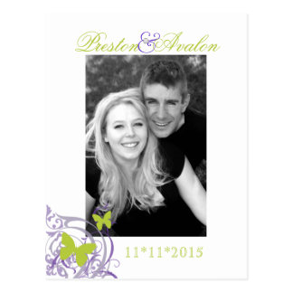 Purple Spring Butterfly Save The Date Postcard