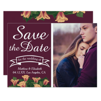 Purple Spring Floral | Typography Save The Date 13 Cm X 18 Cm Invitation Card