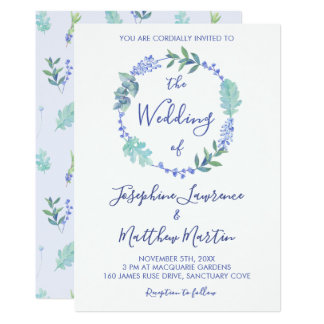Purple Spring Floral Wreath Wedding Invitations
