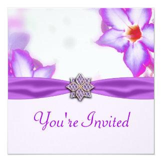Purple Spring Flowers Watercolor Wedding Card