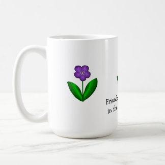 Purple Spring Flowers with Friendship Message Coffee Mug