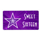Purple Star Sweet Sixteen label large white text
