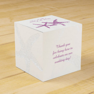 Purple Starfish on White Beach Wedding Favor Box Favour Boxes