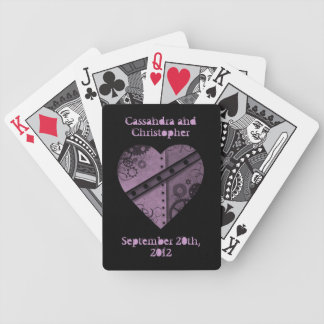 Purple steampunk heart wedding commemorative bicycle playing cards