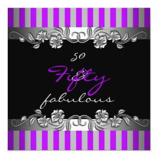 Purple Stripe 50 & Fabulous 50th Birthday Party Card