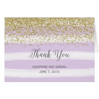Purple Stripes Watercolor Thank You Card