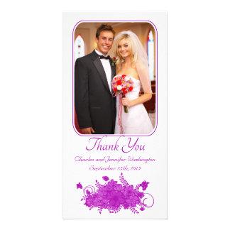 Purple stylish floral wedding thank you photocard photo card template