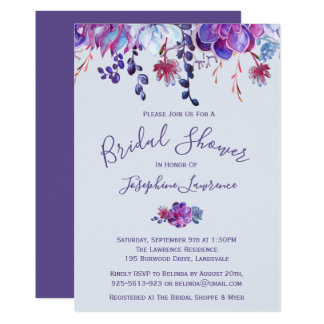 Purple Succulents Bridal Shower Invitation