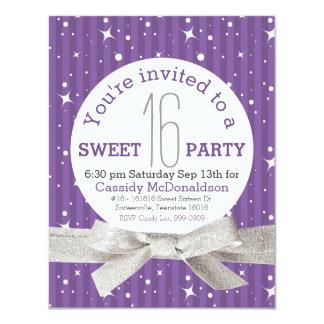 Purple Sweet 16 Birthday Party 11 Cm X 14 Cm Invitation Card
