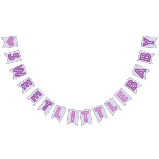 PURPLE ❤ SWEET LITTLE BABY ❤ SIGN BUNTING