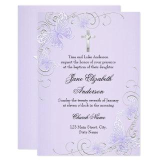 Purple Swirl Butterfly & Cross Baptism Invite