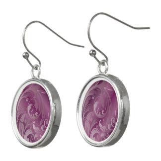 Purple Swirl Drop Earrings
