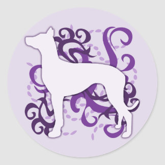 Purple Swirl Pharaoh Hound Classic Round Sticker