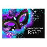 Purple & Teal Masquerade Quinceanera RSVP 9 Cm X 13 Cm Invitation Card