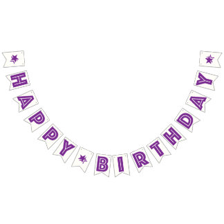 PURPLE TEXT & STARS ON WHITE BKGD ☆HAPPY BIRTHDAY☆ BUNTING