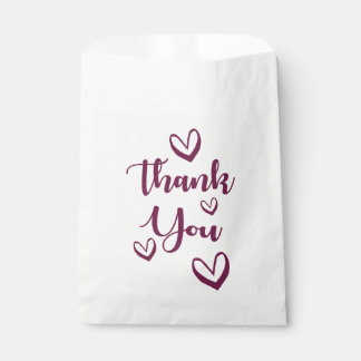 Purple Thank You With Love Hearts - Wedding, Gifts Favour Bags