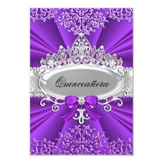 Purple Tiara & Damask Quinceanera Invite