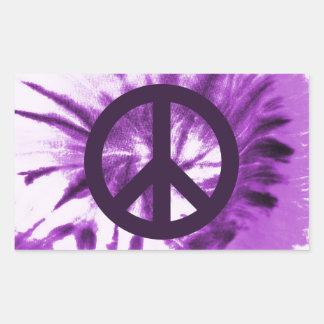 Purple Tie-Dye with Peace Symbol Rectangular Sticker