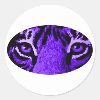 Purple Tiger Eyes jGibney The MUSEUM Zazzle Round Sticker