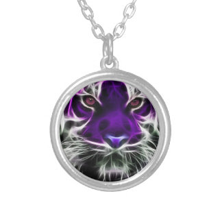 Purple Tiger Necklace Silver