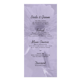 Purple Tinted Daisy Wedding Menu Rack Card Template