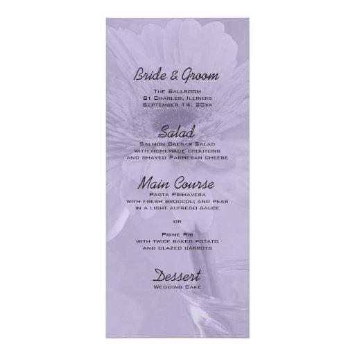 Purple Tinted Daisy Wedding Menu Rack Card