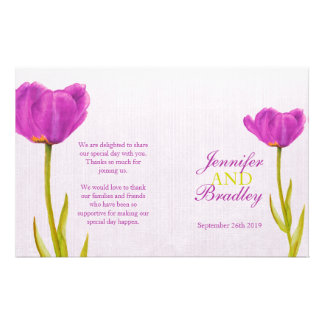 Purple tulip watercolor art wedding programme