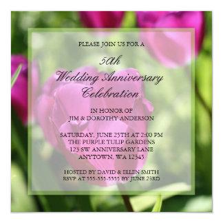Purple Tulips 50th Wedding Anniversary Invitations